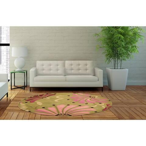 Handmade Sunflower Wool Rug (India) - 6' x 6'