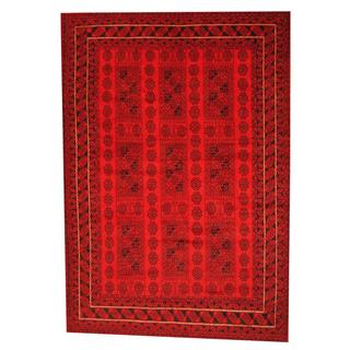 Herat Oriental Afghan Hand-knotted Semi-antique Tribal Balouchi Red/ Black Wool Rug (6'7 x 9'4)