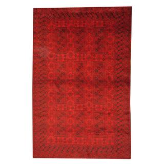 Herat Oriental Afghan Hand-knotted Semi-antique Tribal Balouchi Red/ Black Wool Rug (6' x 9'4)
