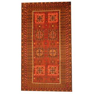 Herat Oriental Afghan Hand-knotted Semi-antique Tribal Balouchi Rust/ Orange Wool Rug (6' x 10'10)