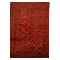 Herat Oriental Afghan Hand-knotted Khal Mohammadi Red/ Black Wool Rug (6'8 x 9'7)