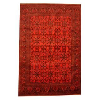 Herat Oriental Afghan Hand-knotted Khal Mohammadi Red/ Blue Wool Rug (6'8 x 9'9)