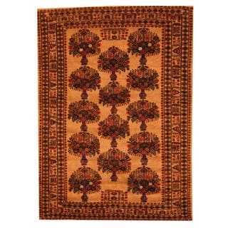 Herat Oriental Afghan Hand-knotted Semi-antique Tribal Balouchi Beige/ Blue Wool Rug (6'9 x 9'6)