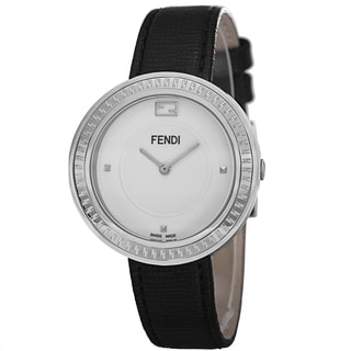 Fendi Women's F350034011 'MyWay' White Dial Black Leather Strap Fur Adorned Quartz Watch