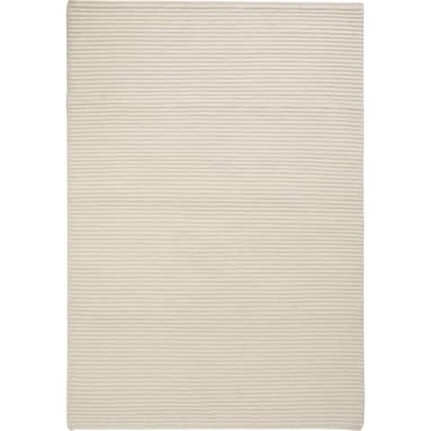 Handmade Manchester White New Zealand Wool Rug (India)