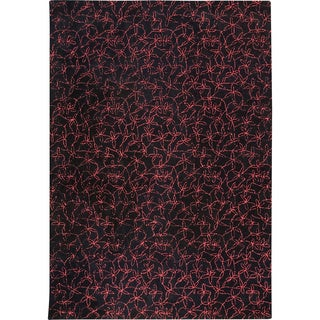 M.A.Trading Hand-tufted Madeira Black/ Red New Zealand Wool Rug (3'x 5'4) (India)