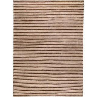 Handmade Goa Beige New Zealand Wool Rug (India) - 3' x 5'