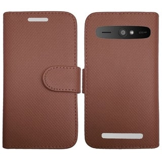 INSTEN Plain Color Leather Book-Style Flap Pouch With Magetic Flip Tray For ZTE Warp Sync N9515