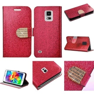 INSTEN Stand Leather Folio Book-Style Flip Phone Case Cover With Diamond For Samsung Galaxy S5 SM-G900