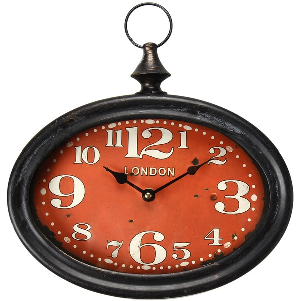 Adeco Black Iron Vintage Inspired Pocket Watch Style Large Numbered Red  Face Hanging Clock Wall