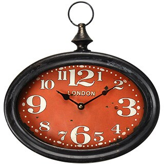 Adeco Black Iron Vintage-Inspired Pocket Watch Style Large Numbered Red Face Hanging Clock Wall