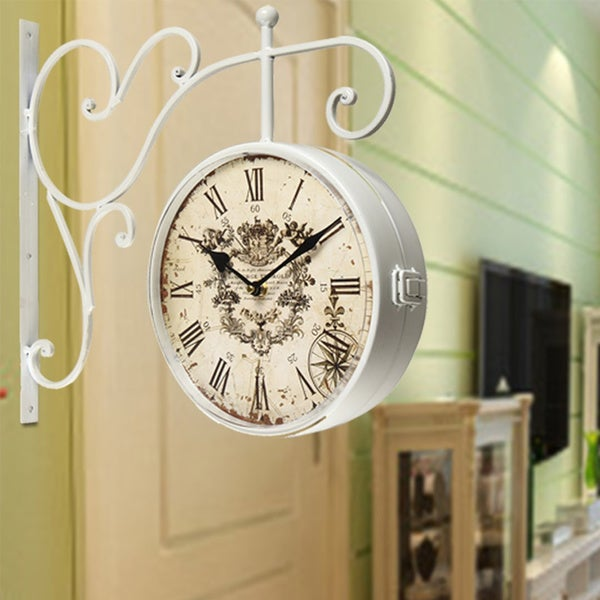 Adeco White Iron Round Double Sided Wall Hanging Clock With Scroll Mount