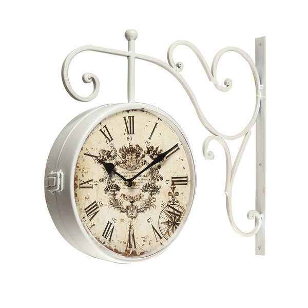 adeco white iron round doublesided wall hanging clock with scroll wall mount free shipping today