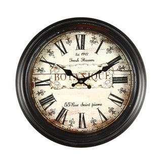 Adeco 'Botanique' Antique-style Brown Wall Clock