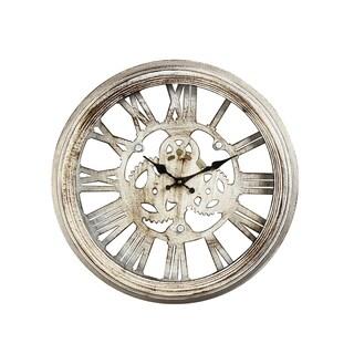 Gear Detail Distressed Iron Wall Clock