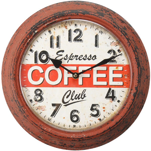 Shop Adeco Coffee Espresso Club Red Iron Retro Wall Clock