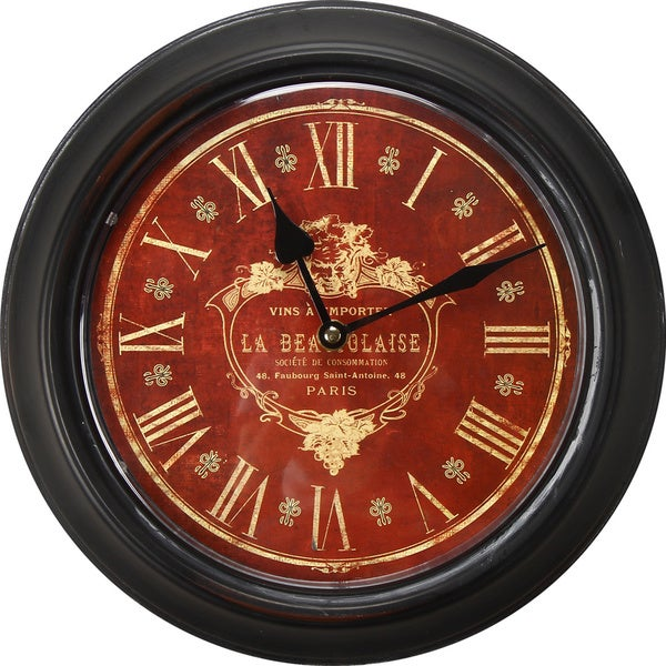 Adeco Black Iron Deep Red Face Vintage-inspired Wall Clock