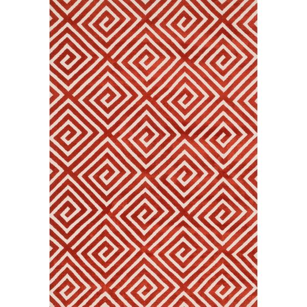 "Aaron Rust Fretwork Microfiber Woven Rug - 9'3"" x 13'"