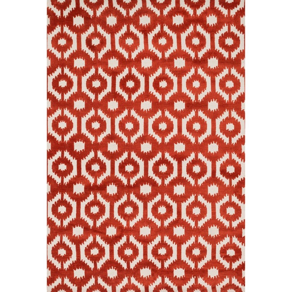 "Aaron Rust Lattice Microfiber Woven Rug - 9'3"" x 13'"