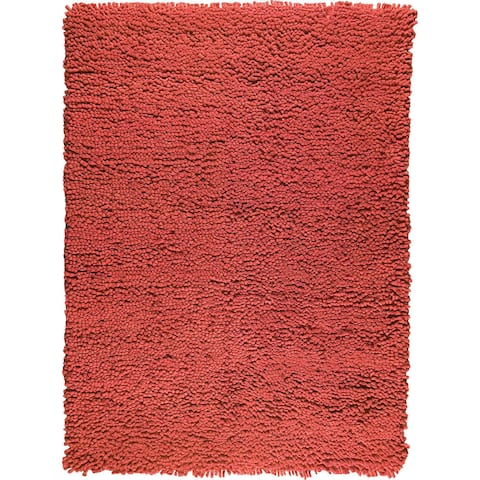 Handmade Berber Red New Zealand Wool Rug (India) - 4'6 x 6'6