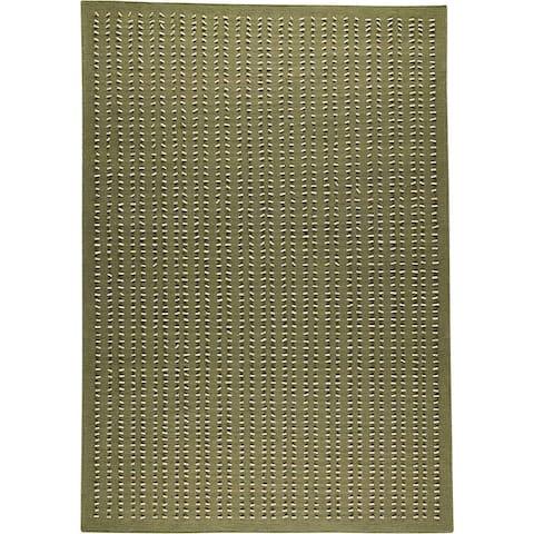 Handmade Palmdale Green New Zealand Wool Rug (India)