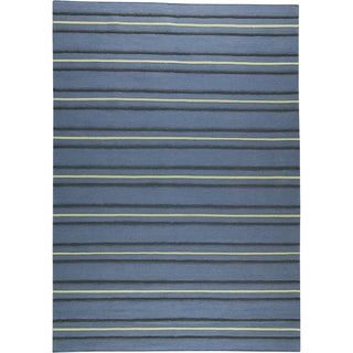 M.A.Trading Hand-woven Savannah Blue New Zealand Wool Rug (4'6x 6'6)