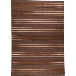 M.A.Trading Hand-woven Savannah Brown New Zealand Wool Rug (4'6x 6'6)
