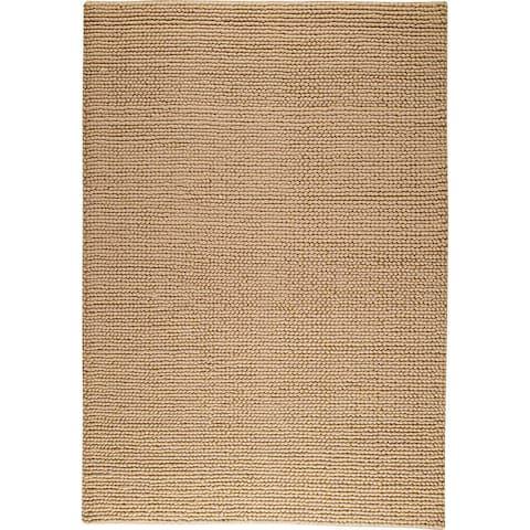 Handmade Ladhak Beige New Zealand Wool Rug (India)