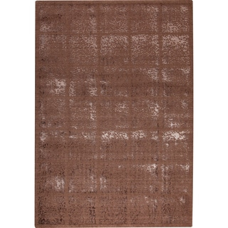 Handmade Indo M.A.Trading Subtle Squares Brown New Zealand Wool Rug (5'2 x 7'6)