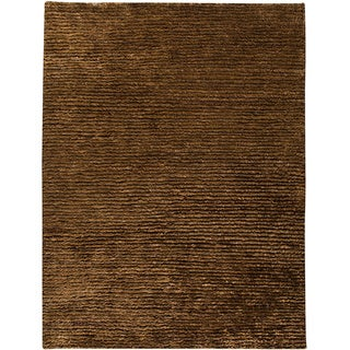 M.A.Trading Hand-woven Nature Dk. Brown New Zealand Wool Rug (5'6 x 7'10)