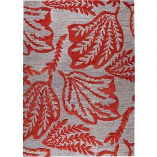 Handmade Leaf Red New Zealand Wool Rug (India)