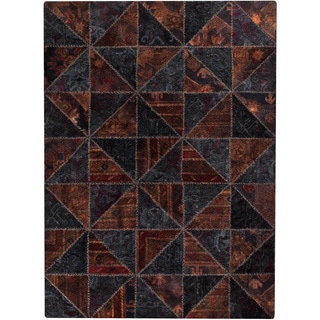 M.A.Trading Hand-tufted Tile Black/ Brown New Zealand Wool Rug (6'6 x 9'6)