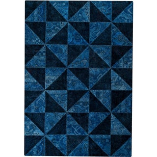 M.A.Trading Hand-tufted Tile Blue/ Turquoise New Zealand Wool Rug (6'6 x 9'6)