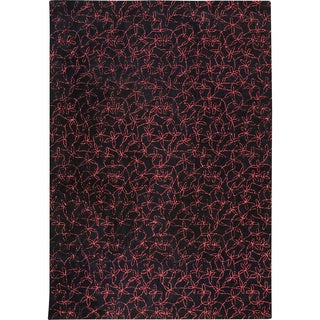 M.A.Trading Hand-tufted Madeira Black/ Red New Zealand Wool Rug (6'6 x 9'9)