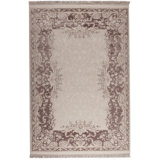 M.A.Trading Abundance White/ Brown New Zealand Wool Rug (7'10 x 9'10)