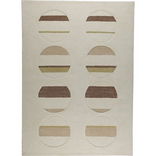 M.A.Trading Hand-tufted Horizon White/ Brown New Zealand Wool Rug (5'6 x 7'10)