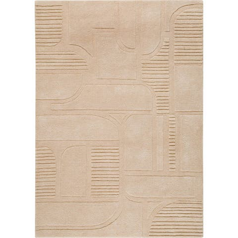 Handmade Orlando Sand New Zealand Wool Rug (India) - 5' x 8'