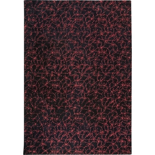 M.A.Trading Hand-tufted Madeira Black/ Red New Zealand Wool Rug (5'6 x 7'10) (India)