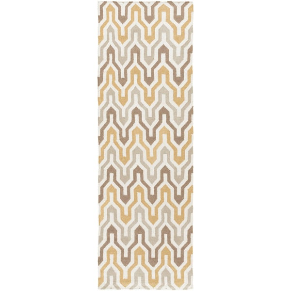 """Hand-Woven Dennis Reversible Wool Area Rug - 2'6"""" x 8'"""