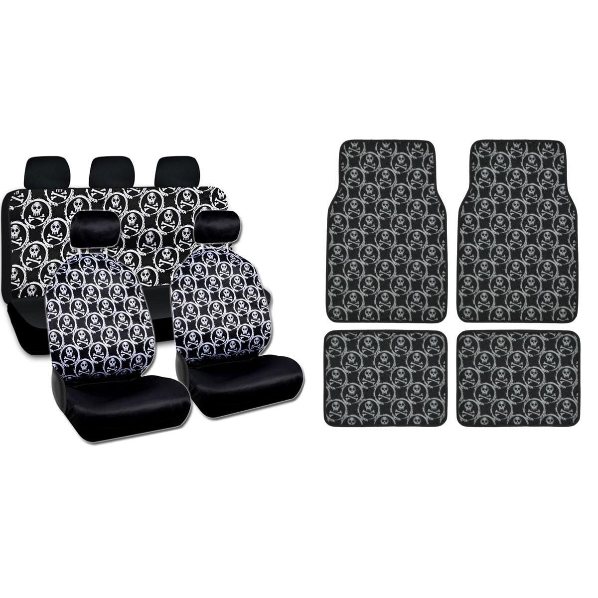 BDK Full Set Monogram Skulls Car Seat Covers and Floor Ma...