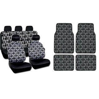 BDK Full Set Monogram Skulls Car Seat Covers and Floor Mats