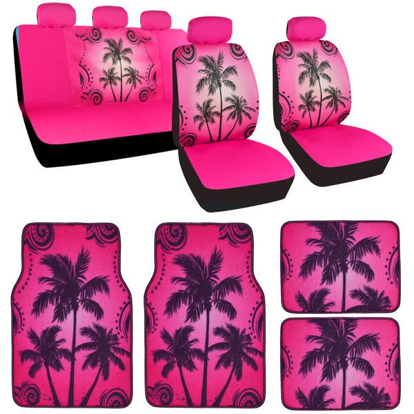 Shop Bdk Full Set Palm Tree Car Seat Covers And Floor Mats Free
