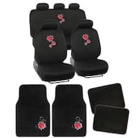 BDK Full Set Lady Bug Car Seat Covers and Floor Mats