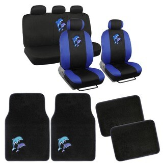 BDK Dolphins Car Seat Covers and Floor Mats Set