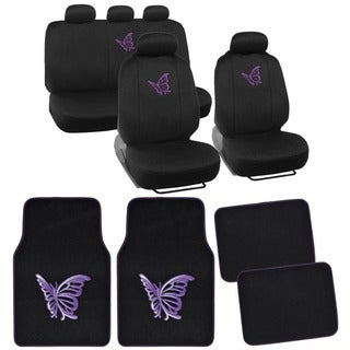 BDK Butterfly Full Set Car Seat Covers and Floor Mats