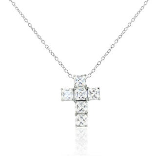 Gioelli Sterling Silver Cubic Zirconia Cross Pendant