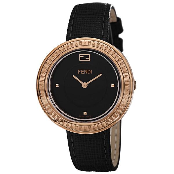 Fendi Women's 'MyWay' Black Dial Black Leather Strap Fur Adorned Quartz Watch