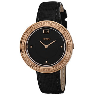 Fendi Women's F350531011 'MyWay' Black Dial Black Leather Strap Fur Adorned Quartz Watch