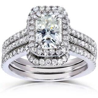 Annello by Kobelli 14k White Gold 1 7/8ct TGW Radiant-cut Moissanite and Diamond Halo Bridal Rings Set (3 Piece Set)