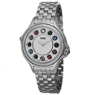 Fendi Women's F107034000T05 'CrazyCarats' Silver Dial Stainless Steel Bracelet Quartz Watch